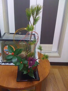 big ikebana at A-Ok 英会話教室 kitchen