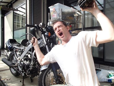 Yeah! Owen got the brakes off the motorbike.
